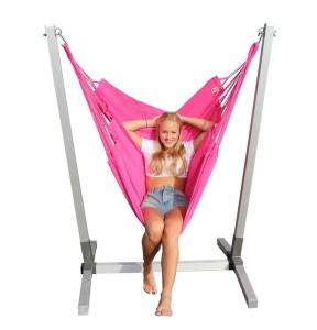 Alu standaard met  roze NewLine hangstoel