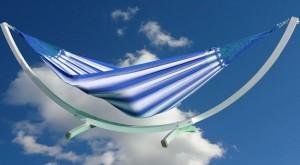 Hangmat Rainbow XL blauw met Alu Arc standaard